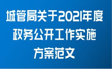 城管局关于2021年度政务公开工作实施方案范文