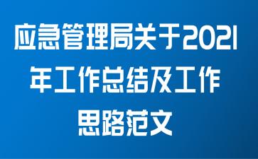 应急管理局关于2021年工作总结及工作思路范文